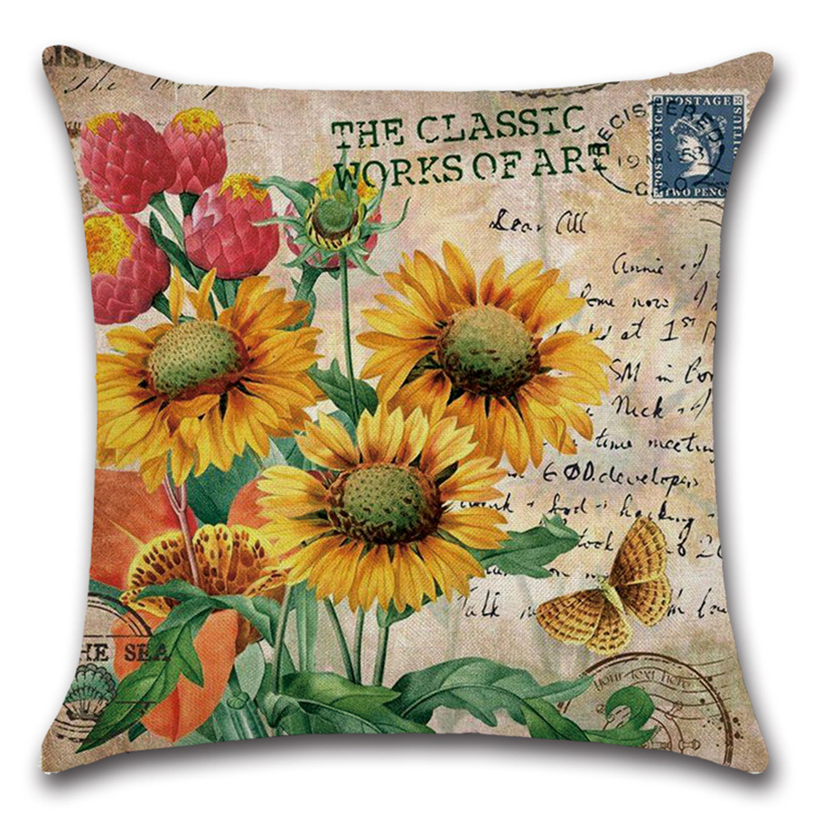 Image 4 - Plant Flower Letter Cushion Cover Set Oil Paiting Sunflower Pillowcase 45x45 for Car Sofa Living Room Decoration Custom Made-in Cushion Cover from Home & Garden