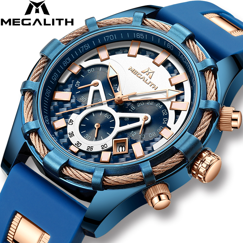 MEGALITH Men Watches Top Brand Luxury Luminous Display Watches Waterproof Sport Chronograph Quartz Wrist Watch Relogio Masculino