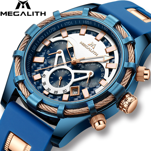 Relogio Masculino MEGALITH Blue Silicone Strap Mens Watches Top Brand Luxury Wat