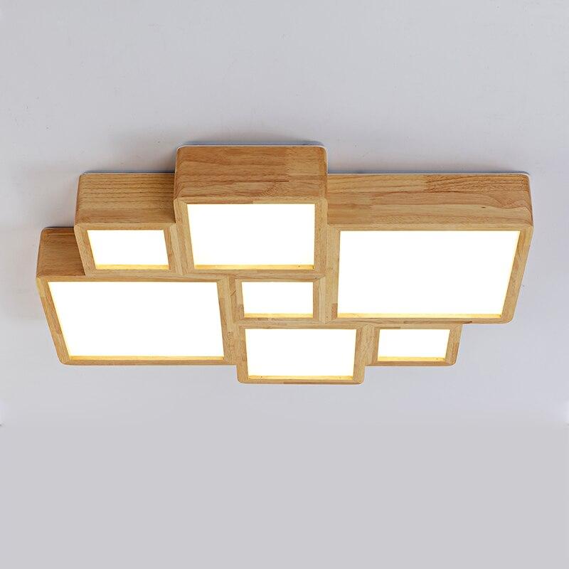 Massivholz Original Deckenleuchte Minimalistischen Wohnzimmer Lampe Kopf Holz Schlafzimmer Deckenleuchten ZAChina