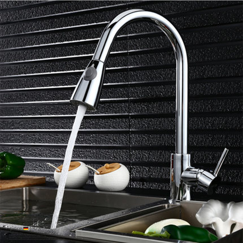 Classic Crane Kitchen Faucet Single Handle Hole Spray Basin Faucets Brass Polished Silver Sink Mixer Taps Pull Out Deck Mount