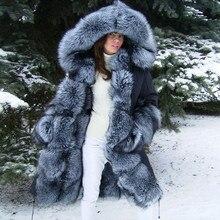 FURSARCAR 2018 Fashion Luxury Black Fur  Jacket Parkas Winter Real Parka Women Natural Silver Fox Liling Inside Hood
