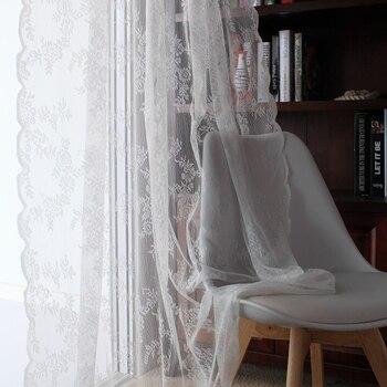 Cortinas de encaje ventana de la cocina rústico hogar Decoración cortinas de voile blanco patrón de flor de tul corto cortinas de paneles