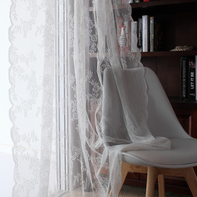 Lace Curtains Kitchen Window Rustic Home Decor White Sheer Curtains Flower  Pattern Short Tulle Drapes Single