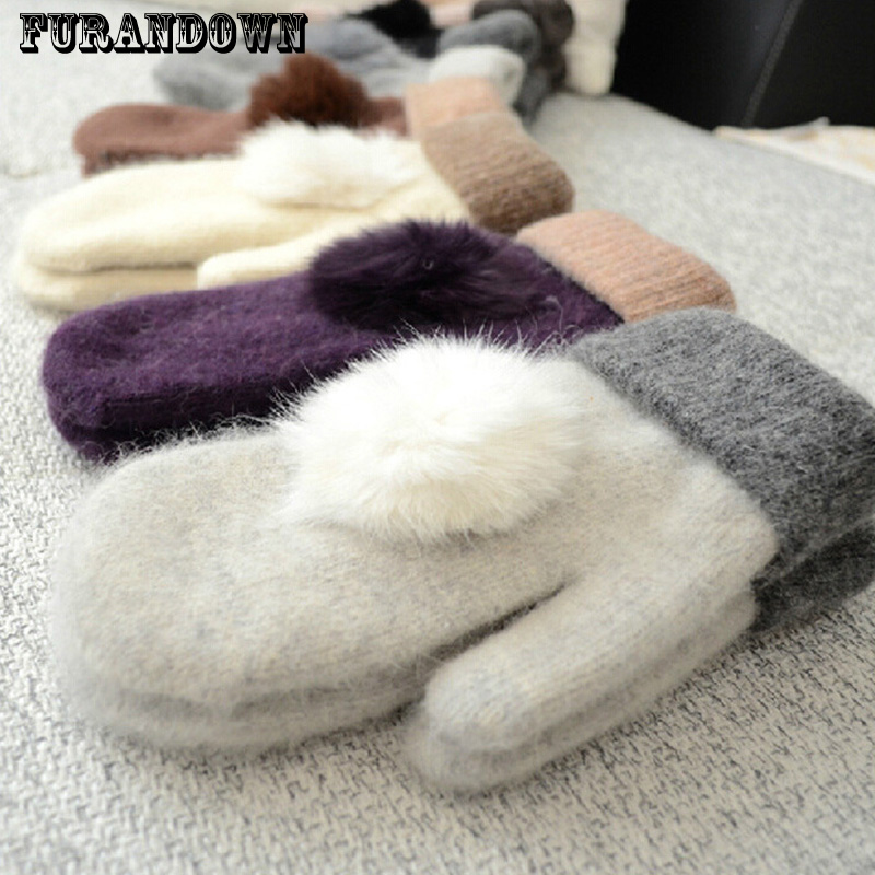 Female Winter Knit Wool Gloves Thick Warm Black Gloves Rabbit Fur Pompom Ladies Gloves Solid Color Women Mittens