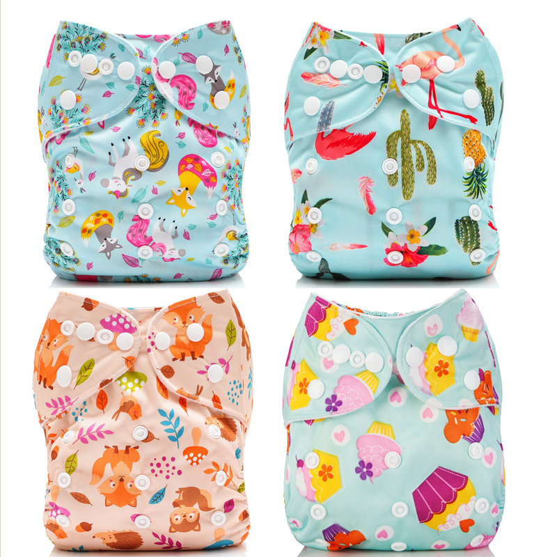 Mumsbest 4Pcs Baby Pocket Diapers With Microfiber Inserts Reusable nappies Waterproof Boy Girl Cloth Diapers