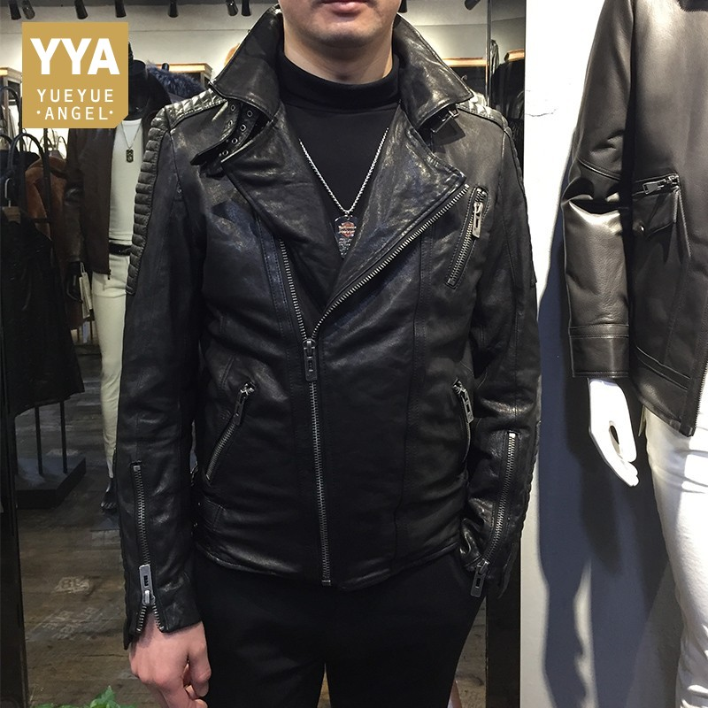Men Vintage Sheepskin Genuine Leather Fashion Motorcycle Jackets High Quality Real Leather Coats 2020 Autumn Plus Size Outerwear
