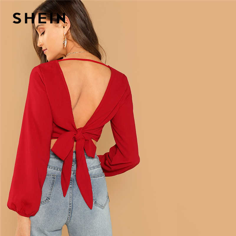 SHEIN Rot Sexy Night Out Bischof Hülse Backless Knoten V-Zurück Wrap Crop Slim Fit Pullover Top Frauen Herbst moderne Dame Blusen
