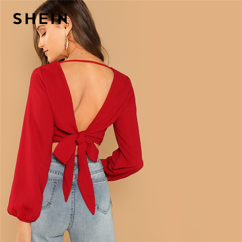 SHEIN Red Sexy Night Out Bishop Sleeve Backless Knot V-Back Wrap Crop Slim Fit Pullovers Top Women Autumn Modern Lady Blouses