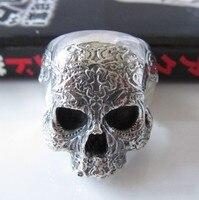Улица панк ювелирные изделия 925 чистого серебра тайский серебряный мужское кольцо с черепом череп