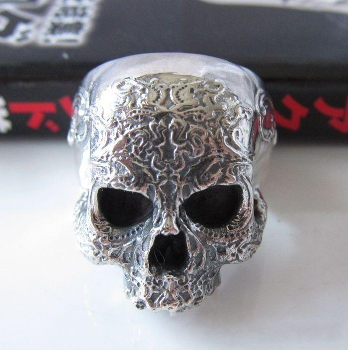 Street punk jewelry 925 pure silver thai silver male skull ring skull 925 retro fashion skull punk locomotive thai silver ring