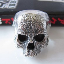 Street punk jewelry 925 pure silver thai silver male skull ring skull