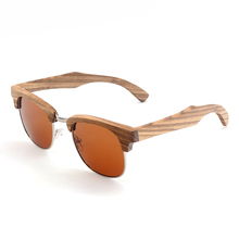 BOBO BIRD AG018b Semi Enclosure Design Zebra Wood Sunglases Stripe Of The Luxury Brand Women Men Literary Sun Glasses Eyewear(China)