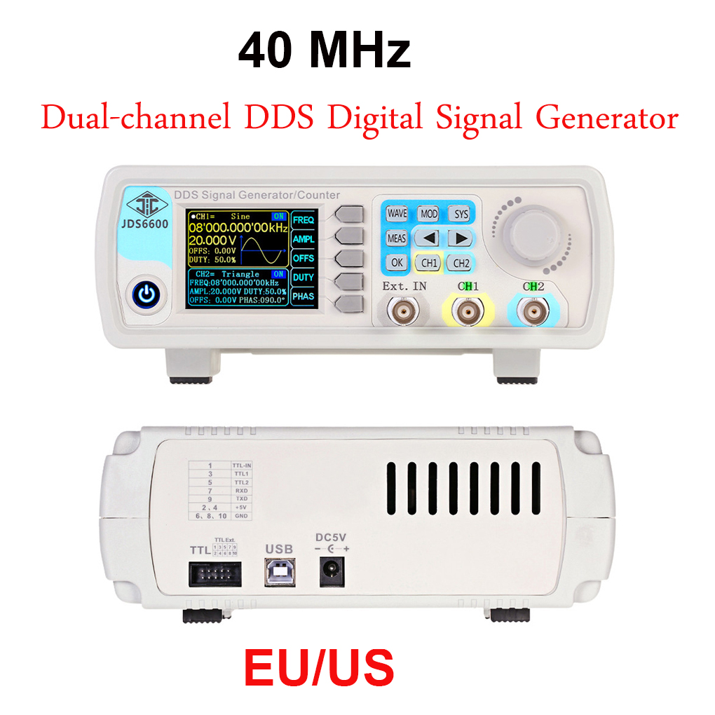 40MHz Dual-channel DDS Digital Signal Generator Arbitrary Waveform Pulse Frequency Electronic Measuring Meter 50mhz digital control dual channel dds function signal generator arbitrary waveform pulse frequency meter