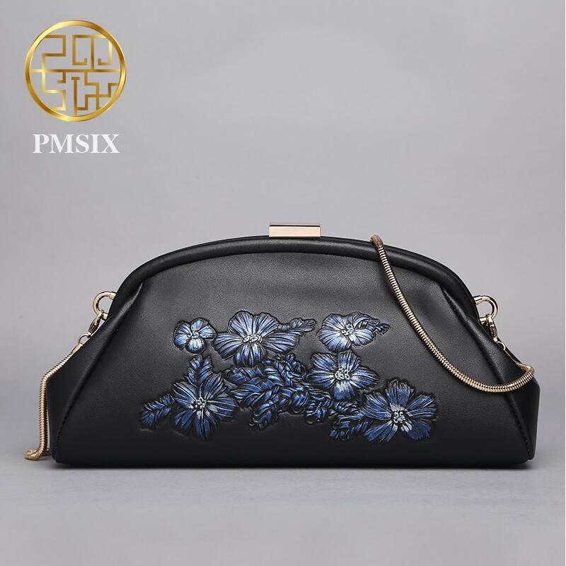 Véritable sac à main En Cuir Pmsix 2016 Mode Vent Chinois de Soirée Sac En Relief embrayage