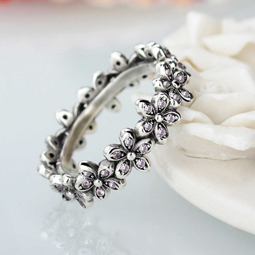 1a117b41e Fashion Flowers Pandora Finger Rings Clear CZ Dazzling Daisy Ring for Women  Wedding Jewelry Accessories
