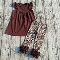 2017 new design Hot sale Boutique Leopard grain sets Coffee pure color dress hot sale Boutique Leopard capri sets