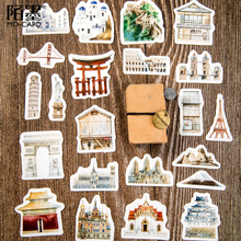 46pcs/pack Kawaii World Architectural History Decorative Stickers Diary Album Label Sticker DIY Scrapbooking Stationery