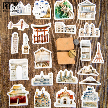 46pcs/pack Kawaii World Architectural History Decorative Stickers Diary Album Label Sticker DIY Scrapbooking Stationery Stickers 46pcs 1pack stationery stickers forest fruit animals diary planner decorative mobile stickers scrapbooking diy craft stickers