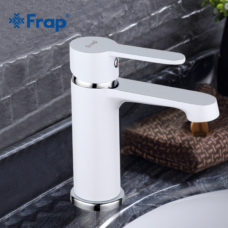 FRAP basin faucets White Bathroom tap Brass Faucet Cold and Hot Water Basin mixer Sink Tap Single Handle modern bathroom faucet FRAP basin faucets White Bathroom tap Brass Faucet Cold and Hot Water Basin mixer Sink Tap Single Handle modern bathroom faucet