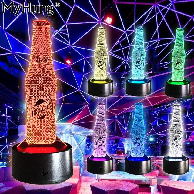 Bouteille De Biere Forme 3d Illusion Led Night Lights Discotheque