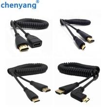 Бесплатная доставка HDMI к прямым углом Mini HDMI весна Curl гибкий кабель V1.4 DSLR 0,5 м/1,5 м