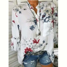 119da1823ad537 Casual Sexy V Neck Women Blouse Floral Flower Print Long Sleeve Shirts  Female Tops Blouse 2018
