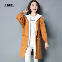 XJXKS Women Fake Two Pieces Coat Hooded Patchwork Off Shoulder Sweaters Single Breasted Woman Sweaters Coats
