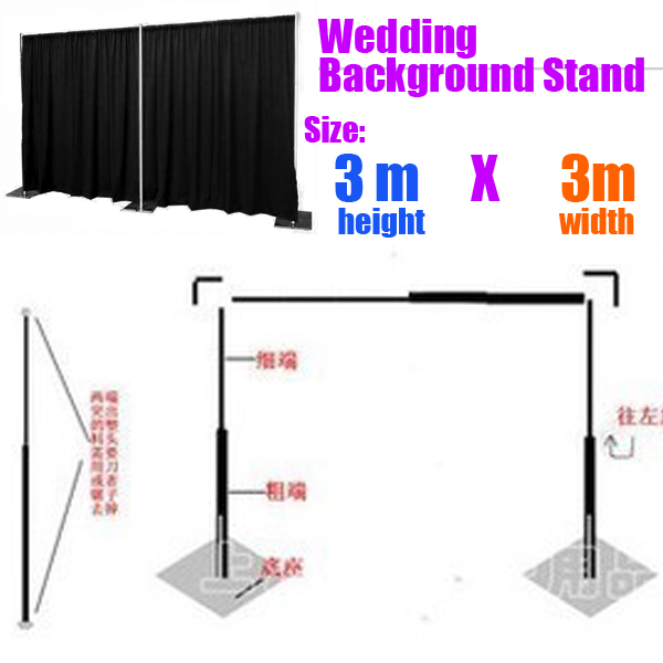 9.8ft x 9.8ft Good Quality Backdrop Stainless Steel Pipe Frame Wedding Backdrop Stand with expandable Rods