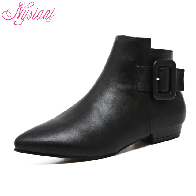 Womens Closed Pointed Toe Low Heels Patent Leather Short Plush Solid Boots with Buckle