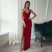 Robe De Soiree Wine Red Evening Dresses Long 2019 V-Neck Spaghetti Straps Satin with Lace Sexy Gown Vestido Festa