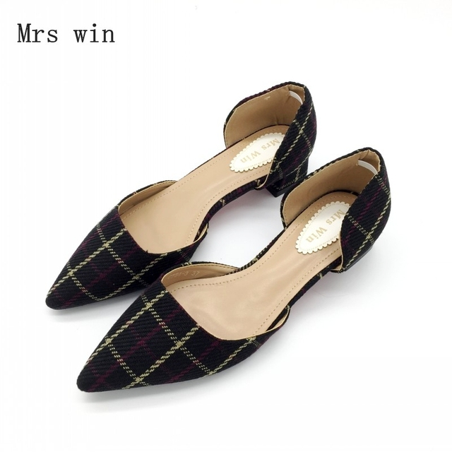 2018 New Summer Shoes Women Fashion Female Cover Heel Sandals Square Med Heel Ladies Work Plaid Shoes Footwear Plus Size Black