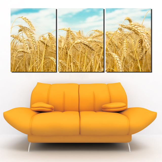 3 Piece Canvas Print Modern Paintings On The Wall Harvest Wheat ...