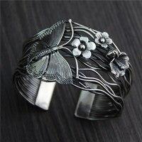 C & R Реальный 925 серебро браслет для женщин Ретро полые бабочка цветок браслеты Тайский серебряные браслеты тонкой ювелирные изделия
