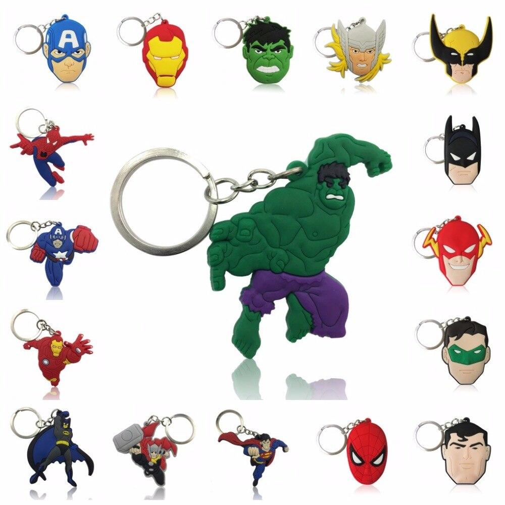 100pcs Cartoon Figure Marvel Avengers Key Chain PVC Anime Superman Key Ring Batman Key Holder Kid