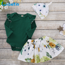 Baby Girl Clothes Set Newborn Outfit Ruffles Long Sleeve Bodysuits+Floral Skirts+Hat Baby Set Autumn Infant Clothing Set P30