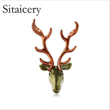 Sitaicery Vivid Goat Metal Brooches For Men Enamel Animal Brooch Pin Coat Sweater Accessories Winter Style New 2019 Lapel Pins