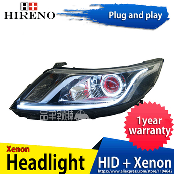 Car custom Modified Xenon Headlamp for KIA K2 RIO 2012-14 Headlights Assembly Car styling Angel Lens HID 2pcs