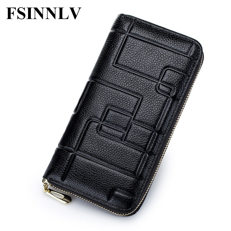 FSINNLV Genuine Leather 2017 Wallet Women Lady Long Wallets  Purse Female 5 Colors Women Wallet Card Holder Day Clutch DC133 high quality floral wallet women long design lady hasp clutch wallet genuine leather female card holder wallets coin purse
