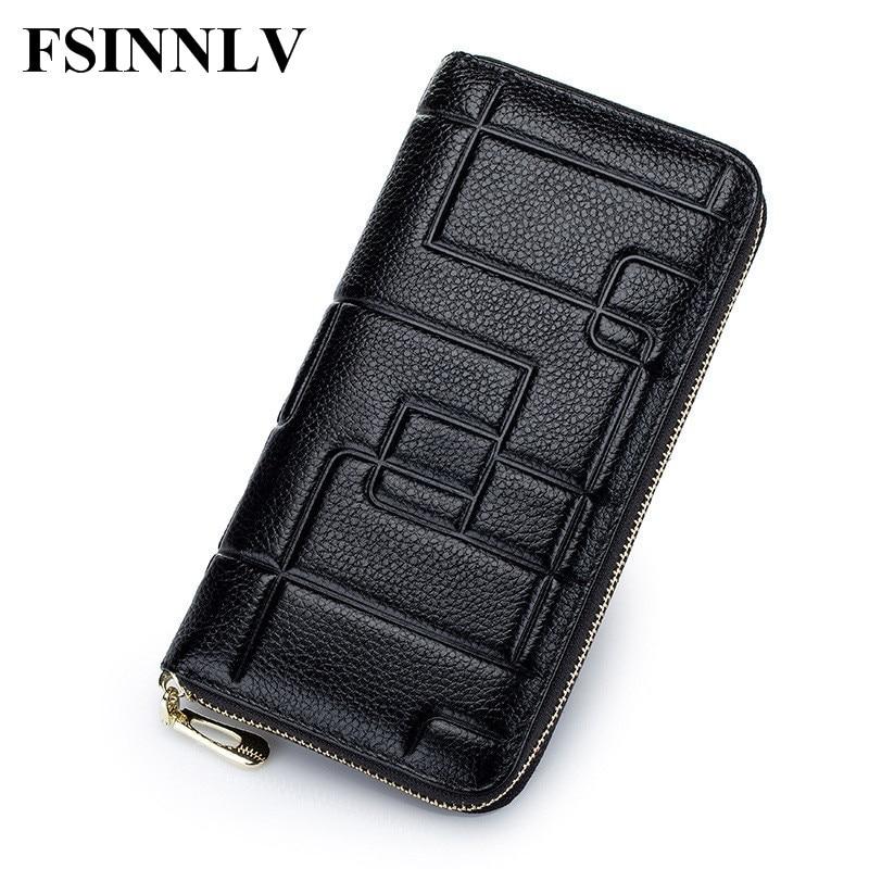 FSINNLV Genuine Leather 2017 Wallet Women Lady Long Wallets  Purse Female 5 Colors Women Wallet Card Holder Day Clutch DC133