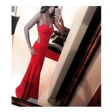 Neue Ankunft Einfache Und Sexy Spaghetti Strap Bodenlangen Abendkleid Backless Red Satin Kleid Frauen Abendkleider