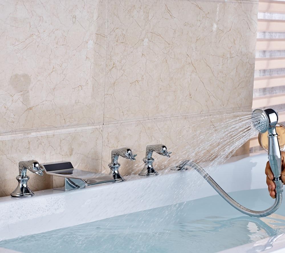 Modern Chrome Swan Handles Bathtub Faucet Hot Cold Tub Mixer Tap W/ Hand Shower lx h30 rs1 3kw hot tub spa bathtub heater