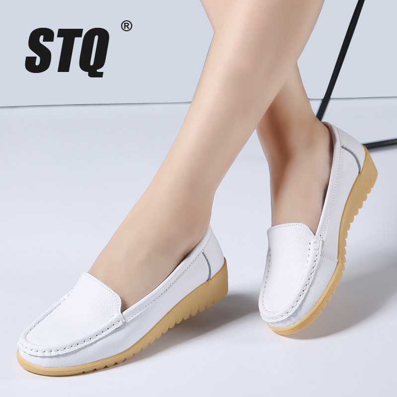 STQ 2018 Autumn  women flats shoes ladies cow leather loafers female moccasins white flat low heel nurse shoes mother shoes 858