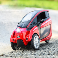 hot 1:24 Scale wheel diecast toyota Three wheeled car i Road metal model with light and musical pull back alloy toys for gifts
