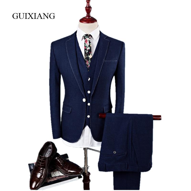 2018 새로운 계절 스타일 남자 패션 단색 양복 남자 패션 캐주얼 고품질 싱글 버튼 결혼식 맞는 대형 S-4XL