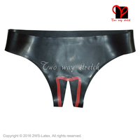 Black and red trims Sexy Latex underwear crotchless Rubber Briefs shorts knickers Rubbe undies bottoms KZ 123