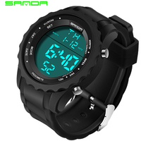 SANDA Luxury Brand Military Sport Watch Men Casual Chronograph Rubber Watch Strap Waterproof LED Digital Watch