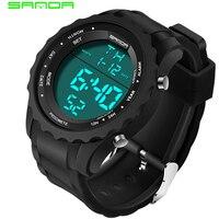 SANDA Luxury Brand Military Sport Watch Men Casual Chronograph Rubber Watch Strap Waterproof LED Digital Watch