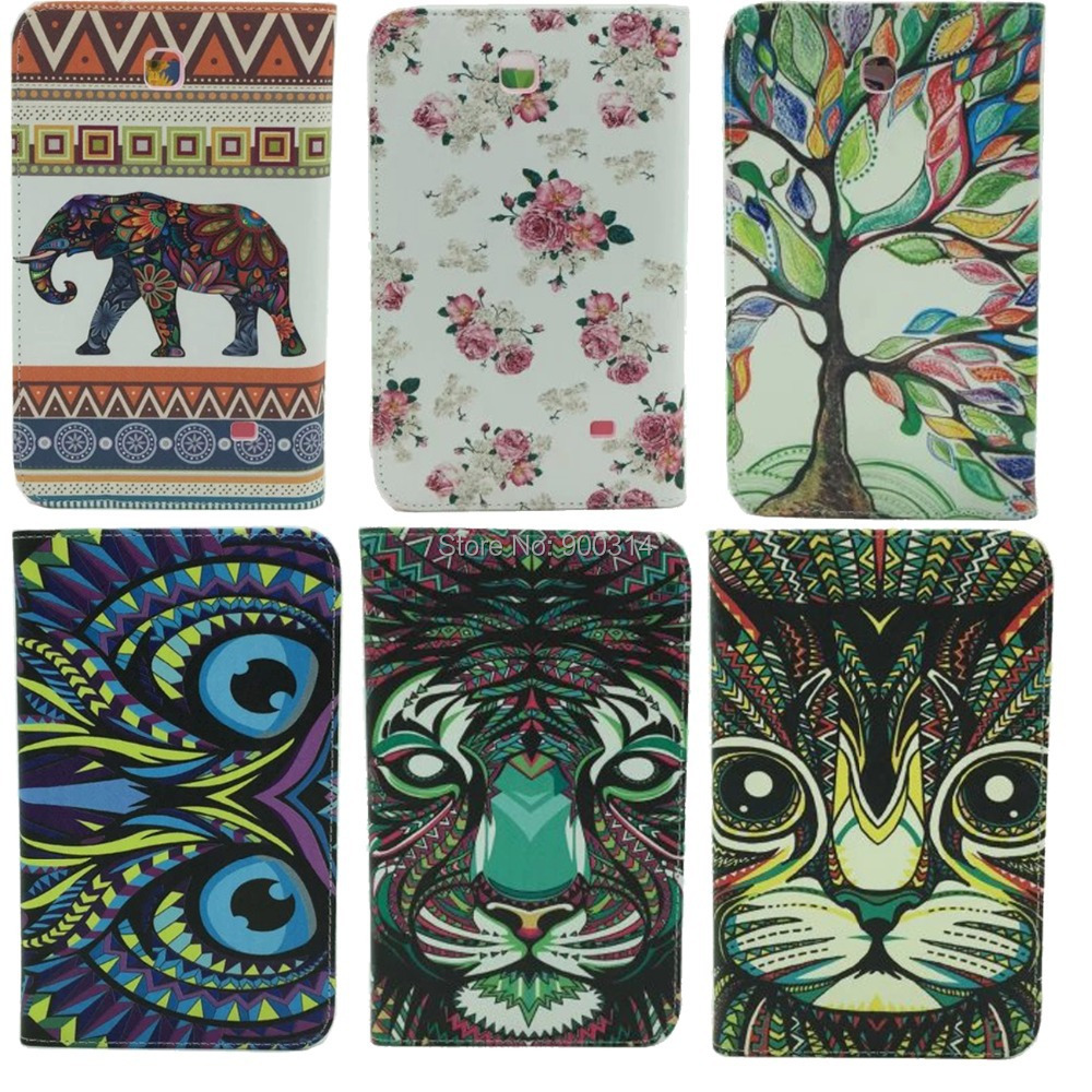 5 pcs for samsung galaxy tab 4 7.0 T230 tablet cover case slik print cloth stand card slot +screen touch stylus pen