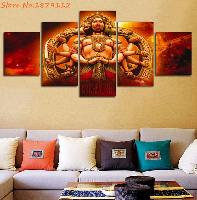 shri panchmukhi hanuman 5 panels painting on canvas unframed